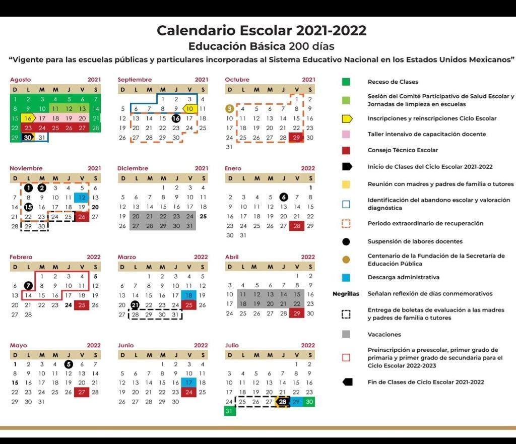 calendario-oficial-Querétaro-sep-2021-2022-la-voz