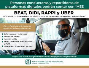 Campaña de comunicación a repartidores por parte del IMSS y plataformas como Rappi.
